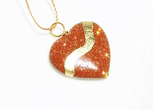 Kintsugi Goldstone Broken Heart Mended With 22k Gold Leaf, Cord Necklace, On Card ()