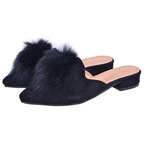 Hee grand Women's Pom Pom Slides Mules Pointed Toe Backless Loafers Ladies Clog Slippers Black 8.5