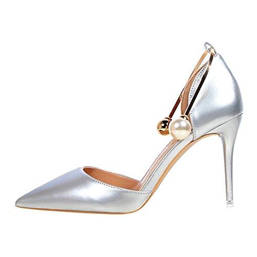 YMFIE Vernice madreperla tacco alto donna scarpe eleganti e e e alla moda in estate,36 UE,argentea 82e435
