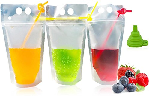 DRINK POUCHES by Nextin: 110 Plastic Drinking Pouches with 110 straw & Funnel. Resealable Stand Up Clear Zipper Pouch with Gusset Bottom can be used as Frozen, Alcohol or Protein drink pouches.