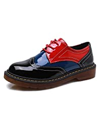 Smilun Lady's Full Brogue Derby Shoes Assorted Colours Classic Flats Shoes