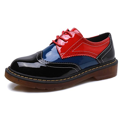 (Smilun Womens Classic Derby Shoes 3 Eyes Lace-Up Flats Tassel Fringe Round Toe Blue Red Black Size 9 B(M))