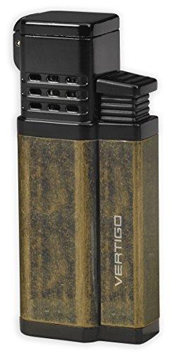 Antique Black Jet - Vertigo Conquistador Triple Jet Flame Lighter w/ Cigar Punch - Antique Brass & Polished Black