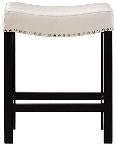 Curved Nailhead Counter Stool  24 H Counter  Textured Ivory