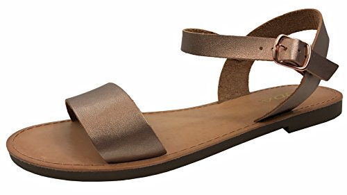 Boss Womens Shoes (Womens ANIBEL Basic Strap Sandal Flat Ankle Strap Big Boss, Rose Gold, 8.5)