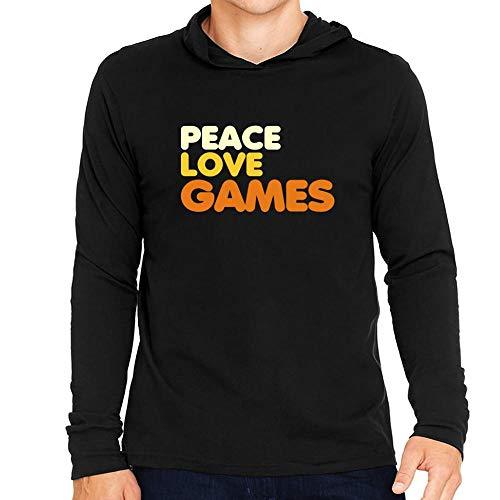 Idakoos Peace Love Games Hooded Long Sleeve T-Shirt L -