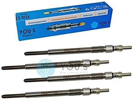 4 Pi/èces YOU.S Bougies de Pr/échauffage Originales Longueur 11,0 V 9650100080 125,5 mm Tension