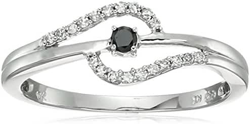 10k Black and White Diamond Ring (1/10cttw, H-I Color, I2-I3 Clarity)