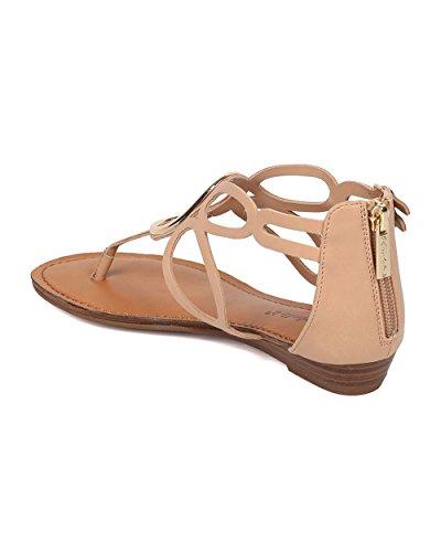 Wedge Leatherette Natural Sandal Women Strap Sandal O T Out Cut Ring Breckelles Mini by Sandal HK97 ypT0qwBB6