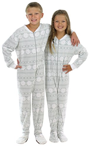 SleepytimePjs Kid's Sleepwear Fleece Onesie PJs Footed Pajama Grey Snowflake - (ST717-K-3020-2T) ()