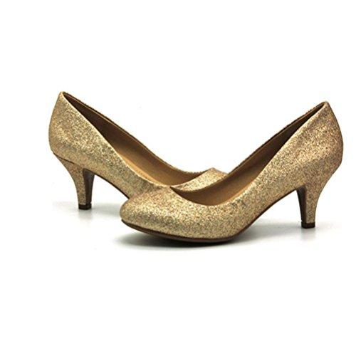 zapatos altos femeninos de gold de para solteros Zapatos tacón de de Zapatos con redonda XIE baja mujeres cabeza boca cómodos mujer px6qTw5Z5n