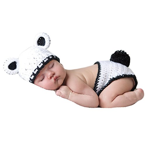 Fashion Cute Newborn Knitted Boy Girl Baby Photo Props Outfits Panda Hat Pants