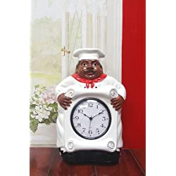 African American, Black Happy Bistro Chef, Kitchen Wall Clock Chef Decor, 89092 by ACK