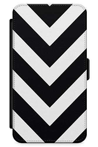 iPhone 10 Case, iPhone X Case, Classic Black White Chevron Phone Case by Casechimp | Premium Leather Flip Wallet Card Holder Slots | Fashion Herringbone Designer Pattern ()