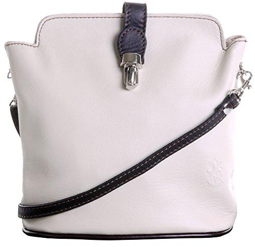 En cuir italien fait main petite autruche effet fermoir Front Croix corps ou sac à main.Comprend un sac de rangement protecteur marque. Crème & Brun Foncé