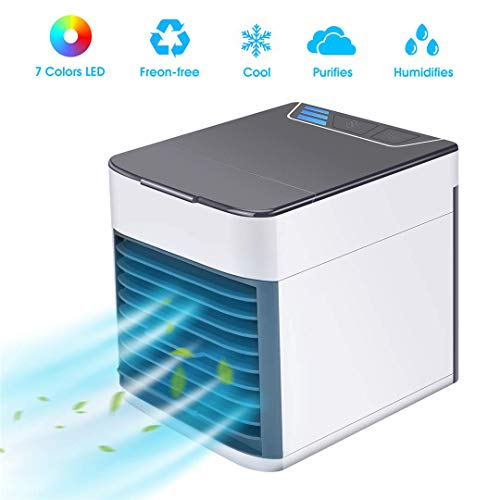 BASEIN 2019 Latest Personal Air Cooler Fan, Portable Air Conditioner, Humidifier, Purifier 3 in 1 Evaporative Cooler with 3 Speed, Mini AC USB Cooling Desktop Fan for Bedroom, Travel, Office ()