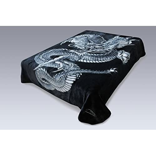 Hot Korean Solaron Super High Quality Thick Mink Blanket (King, Dragon BLACK)