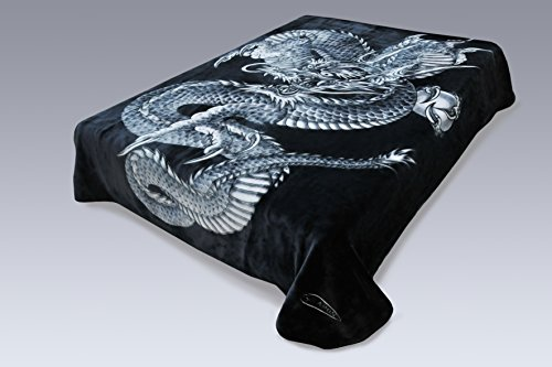 Crover 3K-H6E0-4FGF Korean Solaron Super Thick Mink Blanket (King, Dragon Black) Multicolor