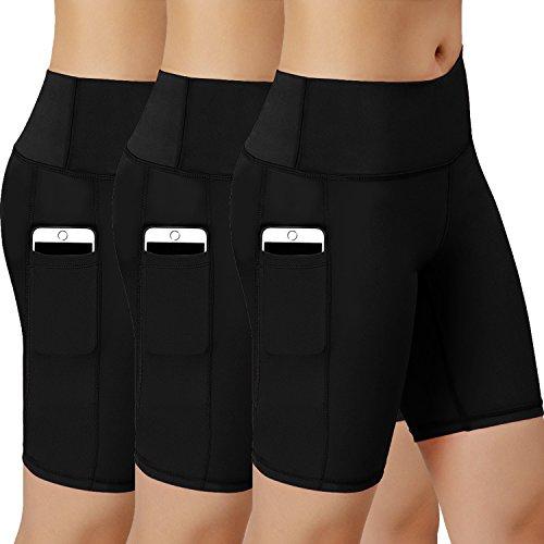 Women Performance Athletic Compression Shorts with Side Pocket Pack of 3 (BlackBlackBlack, X-Large(Fit Waist 39