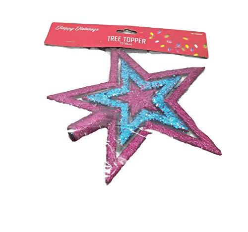 - Happy Holidays Glitter Decorative Christmas Star Tree Topper (Blue/Purple)