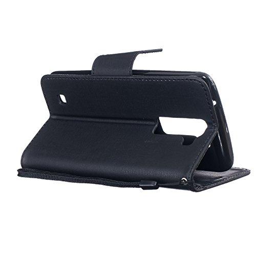 LuckyW [Scratch Resistant, Dustproof, Shockproof, huella dactilar] Caja de Teléfono para LG K10 TPU Backcover Flip Folio cartera Bookstyle caso ligero flexible funda de parachoques caso con función de Negro