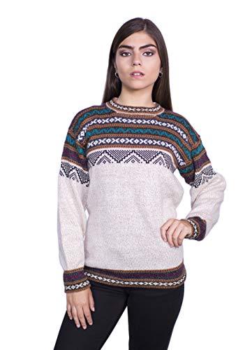 Raymis Peruvian Women´s Hand Knit Alpaca Cuzco Crew Neck Sweater (Beige, Small)