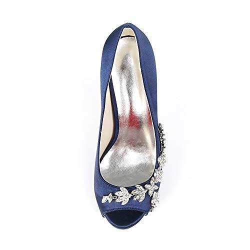 Alto Dedo Zapatos Del Pie Hlg Toe Tacón Fiesta Boda Peep Puntiagudo Satén 38eu Zapatos Nupcial Plataforma De white Señoras Corte qS6E0