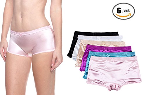 Barbra Lingerie Women's 6 Pack Various Style of Comfortable Satin Panties (XXX-Large, Satin Boyshorts)