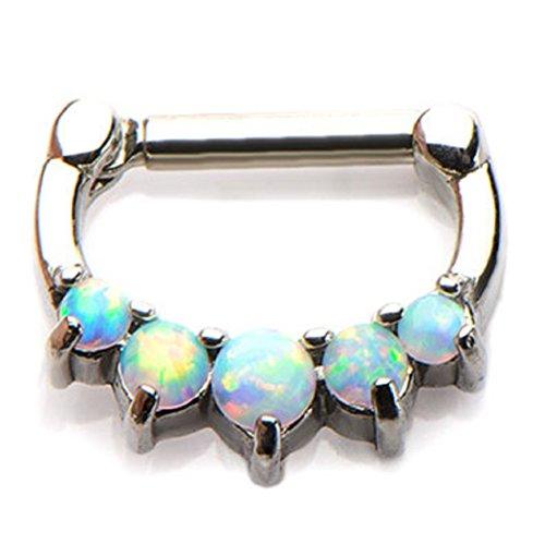 316L Septum Nose Ring Clicker 16g white opal-FREE Gift Box w 117