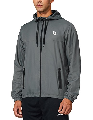 Baleaf Men's Runing Windbreaker Lightweight Hooded Windproof Jacket Grey Size L
