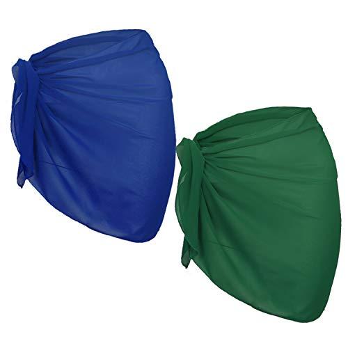 URATOT 2 Pack Women Chiffon Short Sarong Cover Up Beach Wrap Swimsuit for Vocation (Royal Blue+Green, - Beach Green