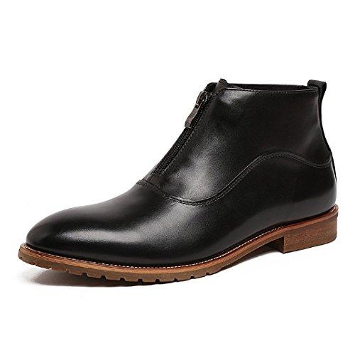 NIUMJ Scarpe Coreane Cerniera Frontale Scarpe da Uomo in Pelle Moda Comfort Traspirante Stivali di Pelle Alti Classico Scarpe Singole Black