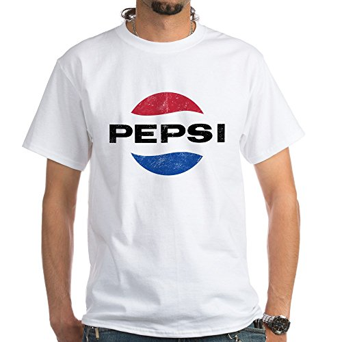 (CafePress Pepsi Vintage Logo White T-Shirt 100% Cotton T-Shirt, White)