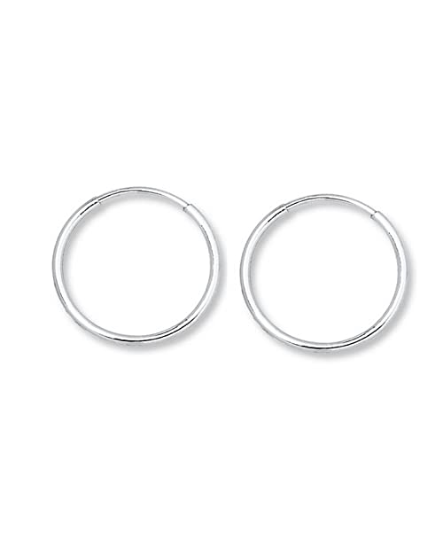 iJewelry2 Continuous Endless Round Circle 14k White Gold Hoop Earrings 12mm 0.5 Jgl9Gdi