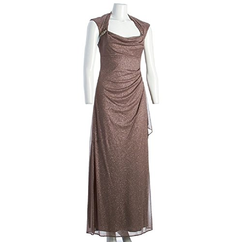 R&M Richards Glitter Gown with Jeweled Accents, Mocha, Size 6