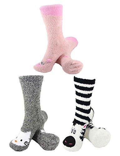 Super Soft Warm Cute Animal Non-Slip Fuzzy Crew Winter Home Socks - Assortment 25, 3 Pairs - Value Pack
