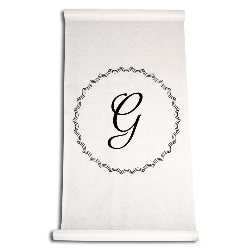 Ivy Lane Design Wedding Accessories Aisle Runner with Initial, Letter G, Black ()