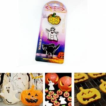 UR Bakeware Halloween Ghost Pumpkin Lazy Cat Family Baking Cutter DIY Cake Cookie Biscuit Cutter ()