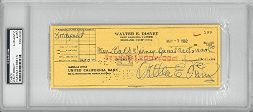 Walt Disney Signed Authentic Autographed Check Slabbed PSA/DNA #83916063