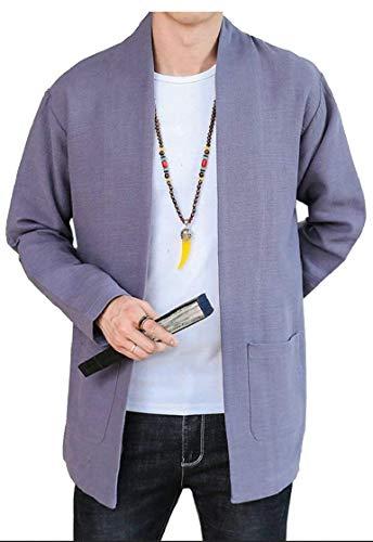 Kangqi Décontracté Vintage Kimono Coton De Cardigan Medium Pour Hommes Grey En Light couleur Taille Homme Vêtements Manteau Lin rrAvH