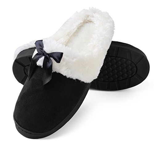 Aerusi Women's Micro Suede Plush Fleece Lined Memory Foam Slip on Clog Houser Slipper (Size 9, Black)