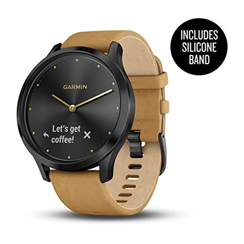 (Garmin vívomove HR, Hybrid Smartwatch for Men and Women, Onyx Black w/Suede Band)