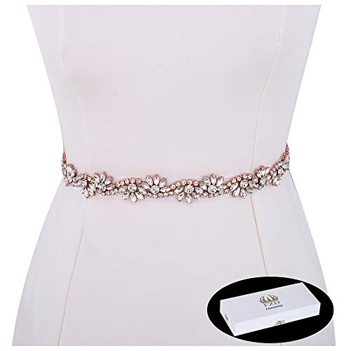 Bridal Applique, FANGZHIDI 1 Yard Floral Rhinestone Belt Sash with Crystal Bead- the Ribbon was NOT Attached to the Applique (026- Rose Gold)