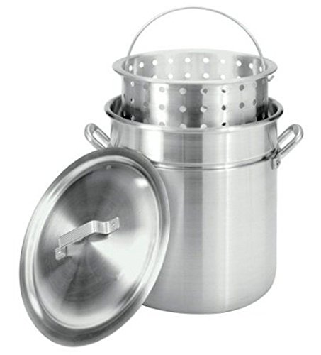 Pananna NEW 42-Quart Aluminum Stockpot W/ Steam & Boil Basket Seafood Lobsters Crawfish by Pananna