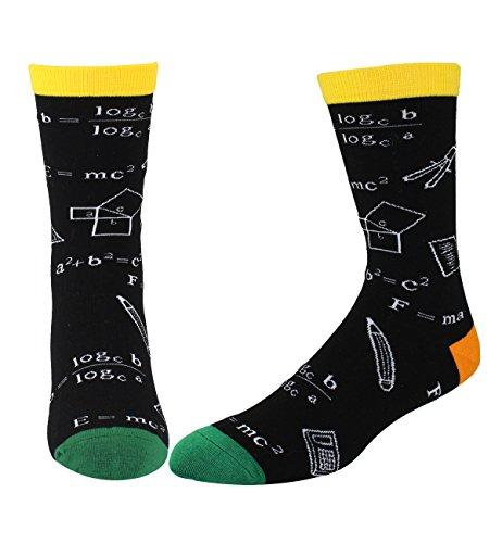 Men's Funky Fun Math Novelty Crew Socks, Science School Cotton Socks in Black
