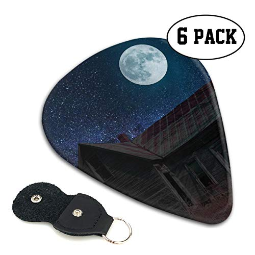 Scary Halloween Haunted House Under The Starry Moon Ultra Thin 0.46 Med 0.71 Thick 0.96mm 4 Pieces Each Base Prime Celluloid Ivory Jazz Mandolin Bass Ukelele Plectrum Guitar Pick Pouch Display -