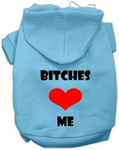 Mirage Pet Products 12 Bitches Love Me Screen Print Pet Hoodie