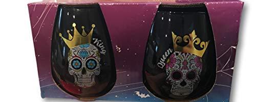 Sugar Skull Set of 2 Black Stemless Wine Glasses - Gold Foil King & Queen Sugar Skull Graphics (King & Queen Sugar Skull Set) ()