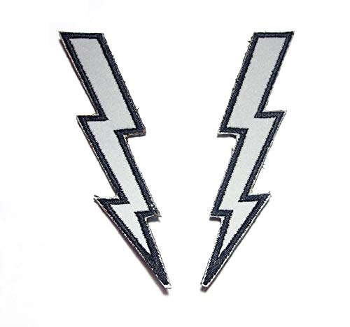 (B51 Lighting Lightning Bolt Gray Reflective Reflector Safety Biker Motorcycle Scooter Embroidered Morale Patch 2 Pcs 4x1 inch Hook Backing)