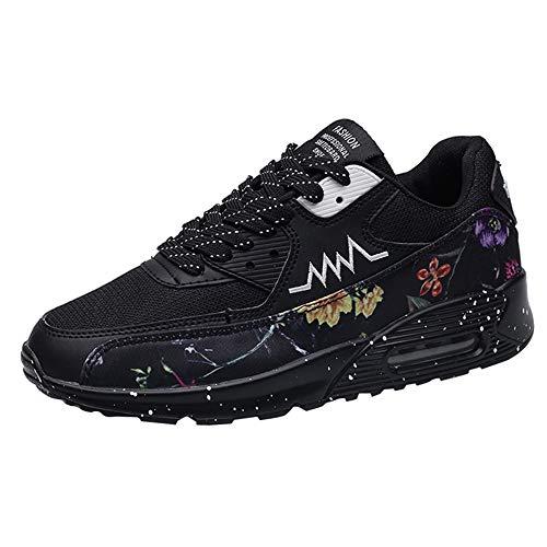 (JJLIKER Men's Graffiti Lightweight Athletic Air Cushion Mesh Running Training Walking Sneakers Athletic Non-Slip Shoes)